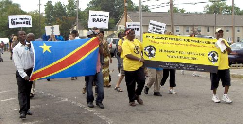 Supporters walk for Congolese Women on August 23, 2008