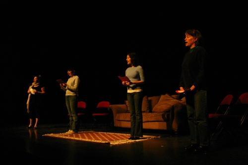 "GMU students performing ""The Vagina Monologues."" Photo taken by GMU student."