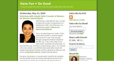 "Zainab Salbi on the ""Have Fun * Do Good"" Blog"